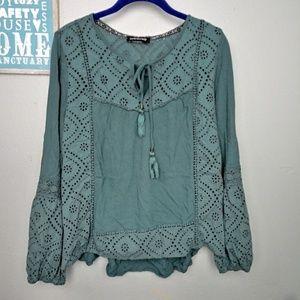 Weavers Boho Hippie Long Sleeve Blouse Top
